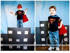 Super hero photo booth (Cardas Photography): Fun idea for a photo booth for a super hero, Spiderman, Batman, Superman, or other birthday party theme Superman Party, Superman Birthday, Leo Birthday, 5th Birthday Party Ideas, Superhero Birthday Party, Halloween Birthday, Hero Spiderman, Photo Booth, Superhero Ideas