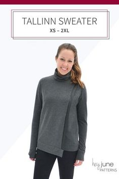 adfff42dbb6 The Tallinn Sweater is an asymmetrical hem cross-over turtleneck or cowl  neck sweater by Hey June Handmade. Janet Ewing · Sewing clothes   dresses