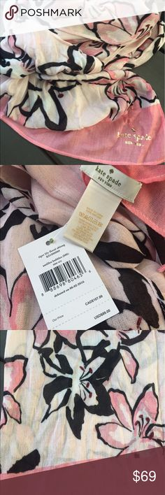 """Kate Spade ♠️Tiger Lily Oblong Scarf New with tags! 100% authentic  80"""" x 25""""  ✨I do not trade  ✨I am happy to answer any questions! kate spade Accessories Scarves & Wraps"""