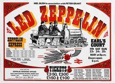 """Zeppelin Express"" - Earls Court 1975 poster. http://www.ledzeppelin.com  #ledzep"