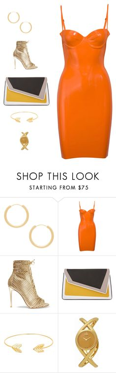 """""""Orange&Gold"""" by ludopolier ❤ liked on Polyvore featuring Elizabeth and James, Gianvito Rossi, âme moi, Lord & Taylor and Calvin Klein"""