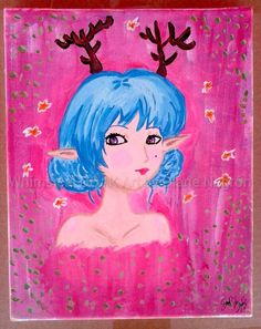 8x10 stretched canvas, acrylic painting, kawaii painting, kawaii art, baby girl nursery art, Woodland nursery, Fairy Kei, geek baby by WhimsicalOOAKArt on Etsy https://www.etsy.com/listing/227577668/8x10-stretched-canvas-acrylic-painting