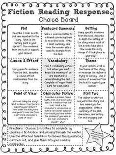 FICTION READING RESPONSE CHOICE BOARD - TeachersPayTeachers.com: