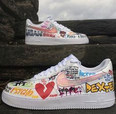 Painted Sneakers, Painted Shoes, Custom Sneakers, Custom Shoes, Air Force 1, Sneakers Fashion, Shoes Sneakers, Shoe Sketches, Sneaker Art