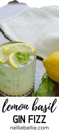 This lemon basil gin fizz is a refreshing and summery beverage that is the perfect addition to any summer night. A NellieBellie recipe. Gin Drink Recipes, Gin Cocktail Recipes, Healthy Cocktails, Sweet Cocktails, Alcohol Recipes, Martini Recipes, Detox Drinks, Basil Cocktail, Margaritas