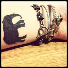 Cute elephant tattoo .  Adorableeeee