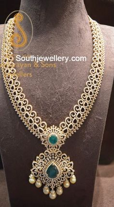 Diamond Long Chain latest jewelry designs - Page 11 of 76 - Indian Jewellery Designs Gold Earrings Designs, Gold Jewellery Design, Gold Jewelry, Diamond Jewellery, Necklace Designs, Real Diamond Necklace, Gold Necklace, Indian Jewelry Sets, Bridal Jewelry