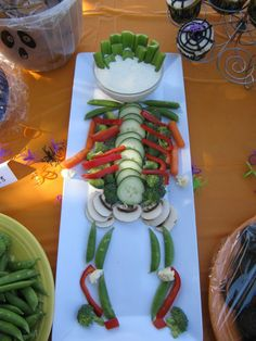 A friend did this for a Halloween party.  What a cute way to encourage the kids to eat their vegetables!