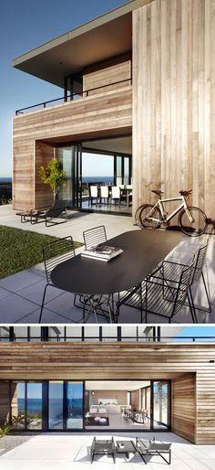 23 Awesome Australian Homes That Perfect Indoor / Outdoor Living // The bottom level of this timber-clad home is connected to outdoor lounging and dining spaces that overlook the ocean. Australian Architecture, Australian Homes, Architecture Design, Indoor Outdoor Living, Outdoor Spaces, Clad Home, Built In Seating, Interior Exterior, Sliding Glass Door