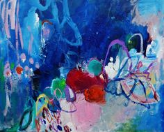 """""""Likely Story"""" is a one of a kind abstract composition. A colorful story is told and embellished with bold blue, cotton candy pink and red.Rich texture, vibrant color.16x20, CanvasGuaranteed QualitySigned OriginalShips via USPS, insured"""