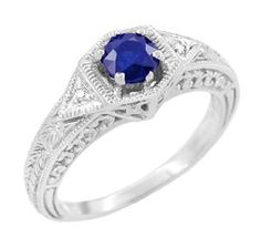 Art Deco Sapphire and Diamond Filigree Engraved Engagement Ring in 14 Karat White Gold