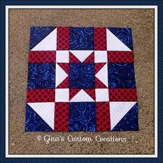 sewing block quilts Army Star Quilt Block - Part of the Tuesday Quilters star BAL. Flag Quilt, Patriotic Quilts, Star Quilt Blocks, Star Quilts, Mini Quilts, Block Quilt, Quilt Top, Barn Quilt Designs, Barn Quilt Patterns