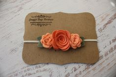 Coral and Dark Peach Wool Felt Flower Headband - Trio of  Roses  - Newborn Baby to Adult - Fall Headbands