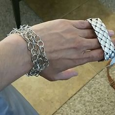 Bracelets Silver bracelets. The fossil one has never been used. I paid $20 for it. The other one is Cookie Lee.. used but in good condition... Fossil Jewelry Bracelets