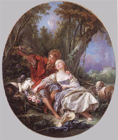 'Shepard and Shepardess Reposing,' by Francois Boucher, Genre in Pastoral, Style Rococo, Oil on Canvas, 1761.