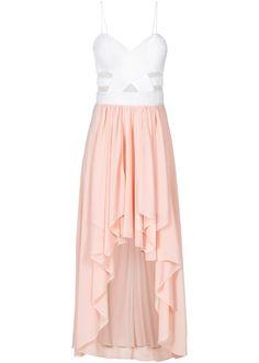 Zauberhaftes Vokuhila-Kleid mit halbtransparenten Cut-Outs - weiß/rosa