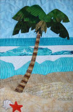 Quilter: Sherrie Gwyn Smith, Chula Vista Quilt Title: Tamarack Beach at Carlsbad State Beach Quilt size: x Related State Park: Carlsbad State Beach Ocean Quilt, Beach Quilt, Tropical Quilts, Hawaiian Quilts, Beach Themed Quilts, Colchas Quilting, Machine Quilting, Landscape Art Quilts, Landscapes