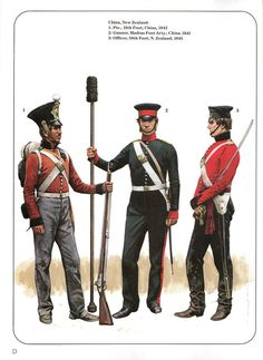 China,New Zealand: 1:Pte.,18th Foot;China,1842.2:Gunner,Madras Foot Arty.;China,1841.3:Officer,58th;New Zealand,1845.