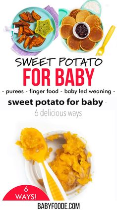 Sweet Potato for Baby – 6 Delicious (and easy) Ways! Sweet potatoes are a superfood and a great first food for babies 4 months and up. Serve them pureed, smashed, or as finger food for baby-led weaning. Great side dish or breakfast for toddlers too! Sweet Potatoes For Baby, Sweet Potato Wedges, Roasted Sweet Potatoes, Baby Food Guide, Baby Food Recipes Stage 1, Baby First Foods, Baby Finger Foods, Baby Puree Recipes, Pureed Food Recipes