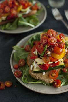 Stacked Tomato, Summer Vegetable and Grilled Bread Salad.