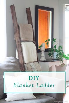 Store your blankets in style with this DIY Blanket Ladder. This project is also great for hanging towels in a small bathroom!