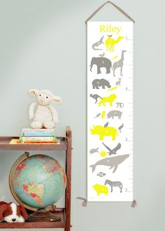 Custom/ Personalized Alphabet Animals canvas growth by GusAndLula
