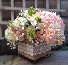 Blush centerpiece made with hydrangeas, stalk, and baby's breath. Vase has lace and burlap fabric.   Snowberrystudio.com#wedding