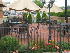 Outdoor dining and part of the kitchen garden at Aiyara Thai Restaurant in Leesburg, VA