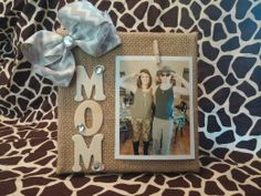 Mothers day frame made of burlab and bows and jewels  www.BlissyCouture.net