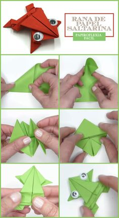 Rana de papel saltarina papiroflexia facil Origami, Diy And Crafts, Playing Cards, Paper Folding, Frogs, Tutorials, Games, Playing Card Games, Origami Paper