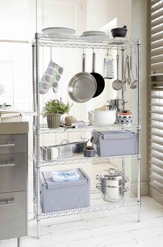 Chrome Kitchen Rack. Accessorize with hooks to hang pans and utensils! Such a…