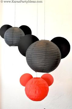 Karas Party Ideas - simply hot glue black scrapbook paper circles to black lanterns - voila! Mickey Mouse!