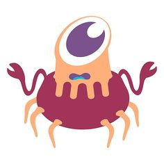 Cute on eyed crab monster