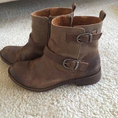 Lucky brand boots sz 6.5- brown ankle Super cute boots- some scuffs on the leather which is pictured. Only worn a few times- wound up being a little tight on me. Leather Lucky Brand Shoes Ankle Boots & Booties