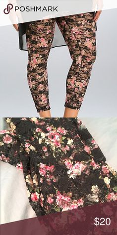 Torrid Floral Cropped Leggings Size 1 Lace floral cropped leggings. Brand new (without tags). Never worn just tried on-much too small and I forgot to return them in time. Torrid Size 1 - 1x or 14/16 equivalent. Smoke-free home. torrid Accessories Hosiery & Socks