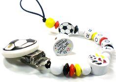 Schnullerketten - Schnullerkette mit Namen Deutschland Fußball - ein Designerstück von Karine-Luedcke bei DaWanda