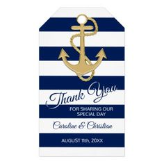 THANK YOU Nautical Navy Blue Special Day Wedding Gift Tags - craft supplies diy custom design supply special
