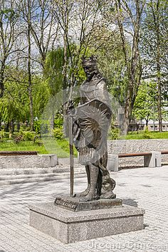 Monument to the prince Leszek Czarny on the promenade in the city Busko-Zdrój in Poland