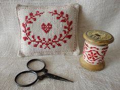 Stitches & Crosses Red Pin Cushion with Free Pattern