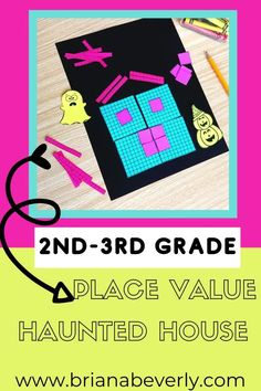 Halloween haunted house math craft. Hands-on math activity for fall and halloween in the 2nd, 3rd, and 4th grade classroom. Great place value review for the fall season! Students will build a place value haunted house by reviewing base-ten and find the value of their halloween house with this engaging math craft!
