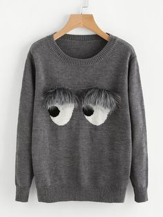 SheIn offers Faux Fur Embellished Eyes Pattern Jumper & more to fit your fashionable needs. Casual Sweaters, Pullover Sweaters, Grey Sweater, Long Sleeve Sweater, Loose Sweater, Alter Pullover, Diy Clothing, Custom T, Personalized T Shirts