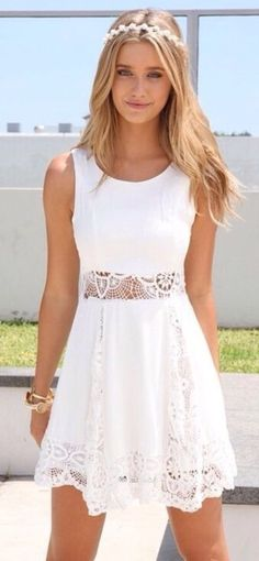 B darlin short white lace party dress