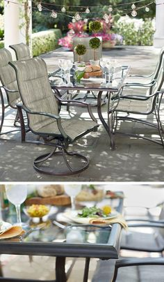 This glass tabletop patio se is not only rust-resistant, it's easy to clean, too! It's from the Statesville collection at The Home Depot.