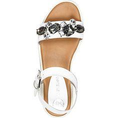 White leather embellished sandals