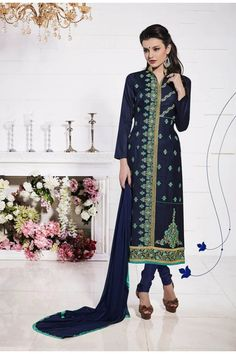 Online Shopping of Festive Wear Cotton Salwar Kameez In Blue Color With Embroidery Work from SareesBazaar, leading online ethnic clothing store offering latest collection of sarees, salwar suits, lehengas & kurtis Beautiful Pakistani Dresses, Pakistani Dresses Online, Pakistani Outfits, Indian Dresses, Indian Outfits, Cotton Salwar Kameez, Salwar Kameez Online, Salwar Suits, Churidar