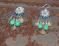 Lemon Topaz and Chrysoprase Chandeliers