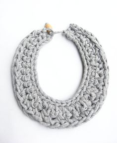 Hey, I found this really awesome Etsy listing at https://www.etsy.com/listing/272679512/gray-cotton-bib-necklace-gray-crocheted
