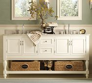 Love the subway tiles, paint color and look of vanity (not the open bottom) Master Bath