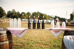 Love the impromptu bar - a board on top of two wine barrels!  Hanover Park Vineyard, Yadkinville, NC