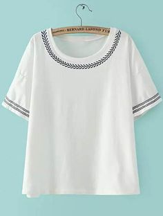 White Short Sleeve Embroidered Loose T-Shirt 11.83